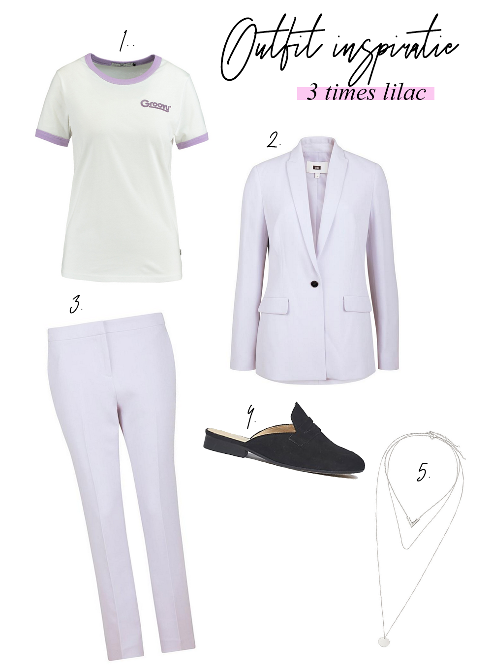 Outfit met Lila items inspiratie